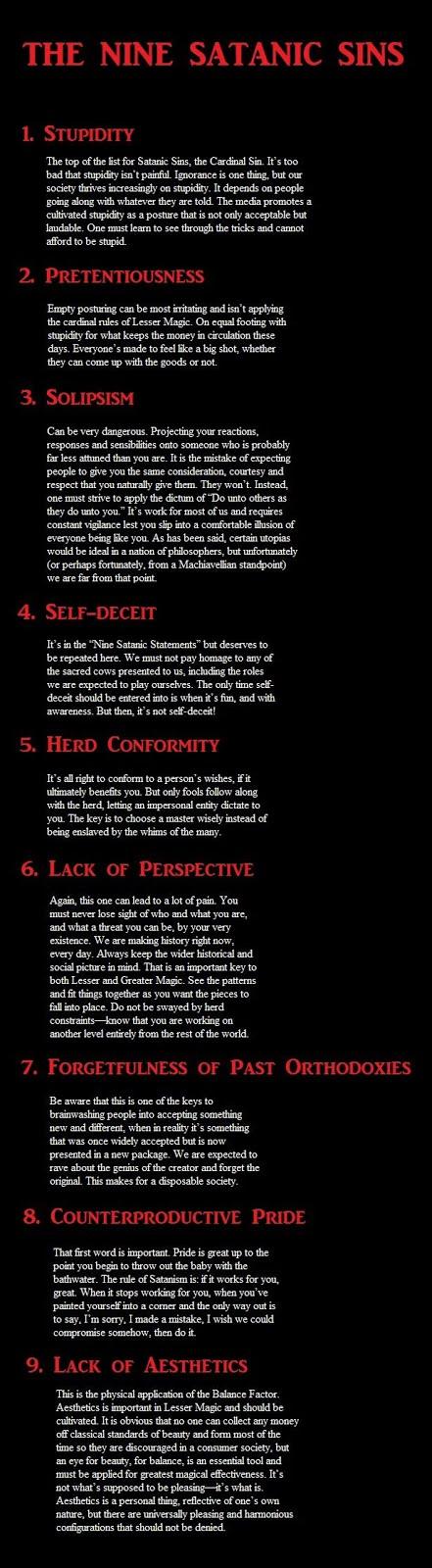 the nine satanic sins