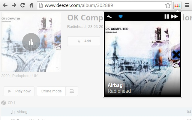 Deezer Control chrome