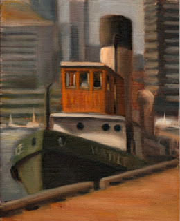 Oil painting of a steam-powered tugboat at a wharf in front of numerous high-rise buildings.