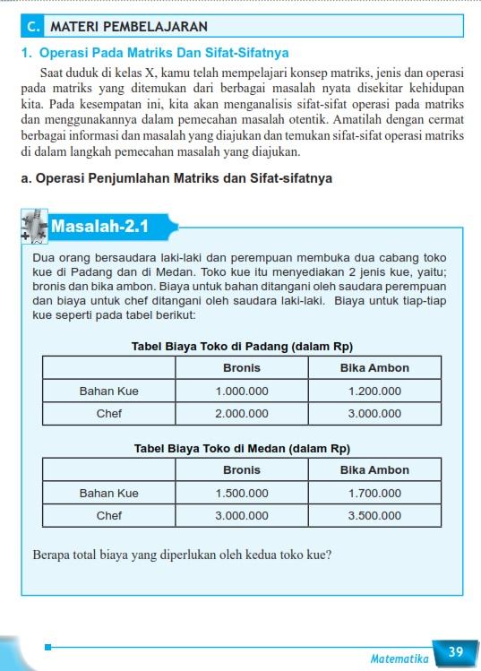 Matematika Di Sma Materi Ajar Matriks Kelas Xi Matematika Wajib