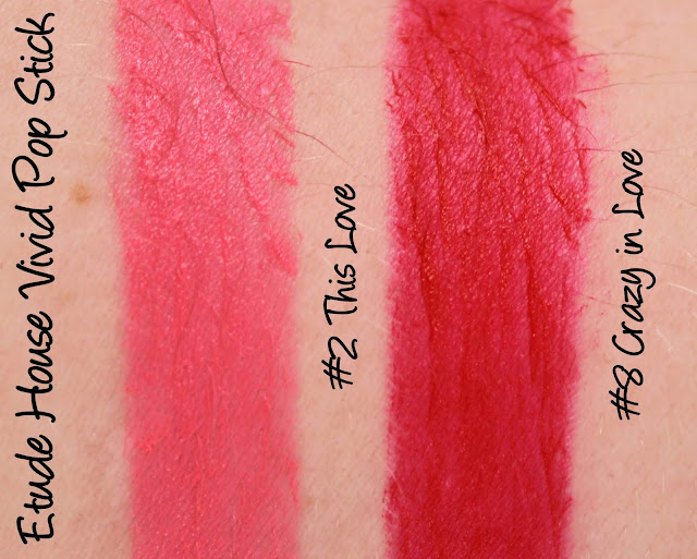Etude House Vivid Pop Stick - This Love & Crazy In Love Swatches & Review