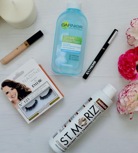Highstreet - Make up - skincare - eylure - nadine eyelashes - Garnier - soothing toner - fit me concealer - maybelline - st moriz - fake tan - collection - felt tip liner - review