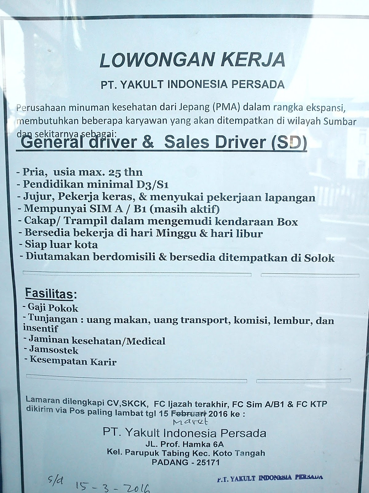 Lowongan Kerja Yakult Pekanbaru Lowongan Kerja Jakarta
