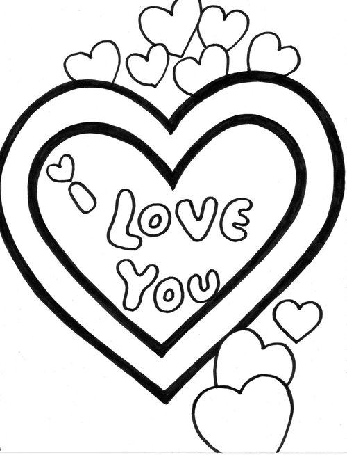 love hearts coloring pages - photo#12