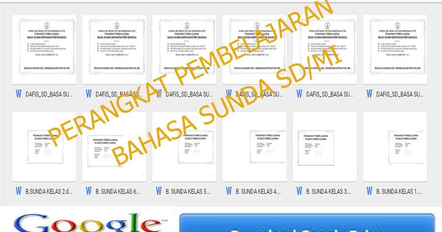 Perangkat Pembelajaran Sd Mi Bahasa Sunda Kelas 1 2 3 4 5 6 Berkas Download Guru