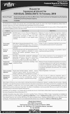 The Latest FBR Jobs 2019 for HR, Procurement, Research Analyst, Communication & Other Specialists or Consultants
