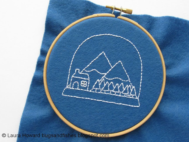 snow globe embroidery in progress