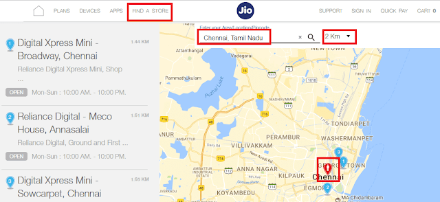 Reliance Jio Stores Digital Xpress Mini Locator