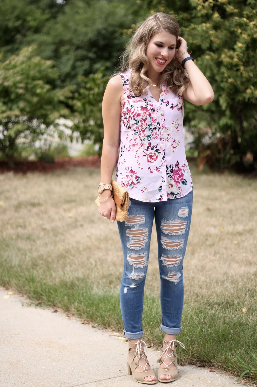 pink floral portofino sleeveless shirt, distressed jeans, lace up heeled sandals, straw clutch, summer outfit, casual summer outfit