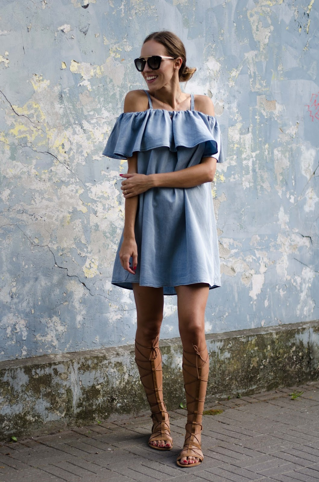 denim off shoulder dress outfit