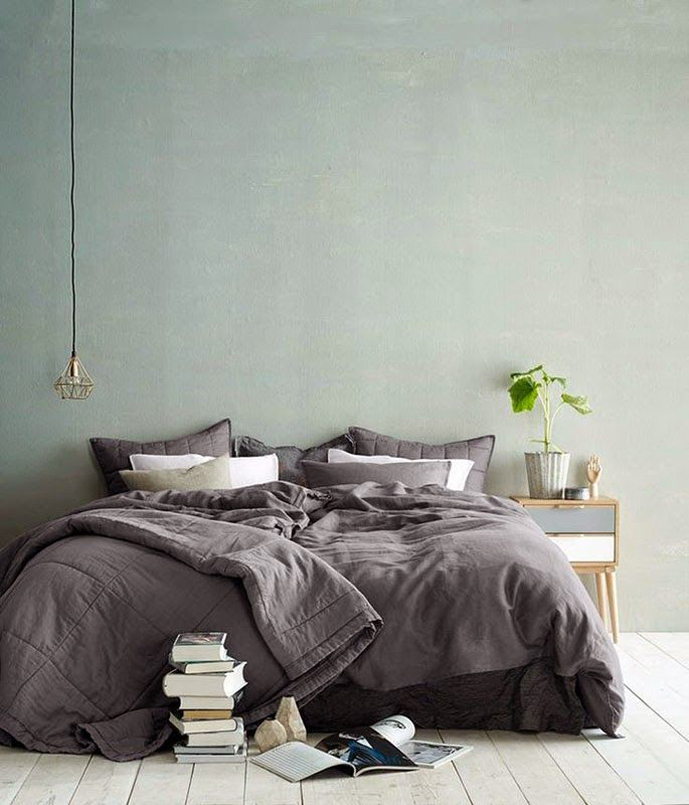 Spring green/white/grey mood board / grey and green minimal contemporary modern bedroom decor via www.fashionedbylove.co.uk