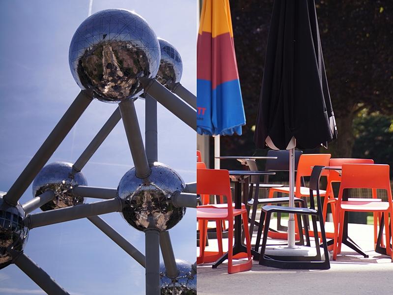 Atomium Brüssel im Sommer vor blauem Himmel