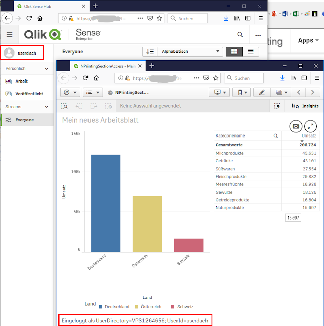 NPrinting Section Access Qlik Sense