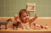 Bath time with plastic animals