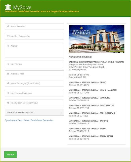 'MySolve' Aplikasi Online Permohonan Cerai di Perak