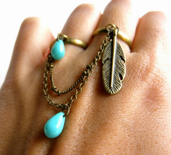 Double ring Boho fashion, Double ring with strand