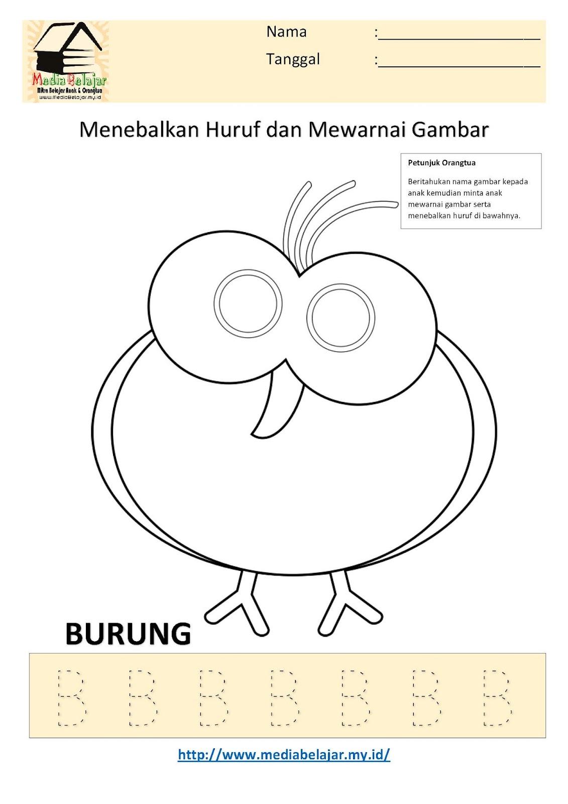 Menebalkan Huruf B Dan Mewarnai Gambar Burung