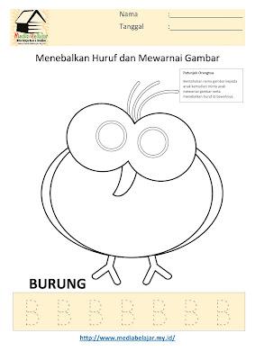 Lembar Kerja Paud Menebalkan Huruf B dan Mewarnai Gambar Burung