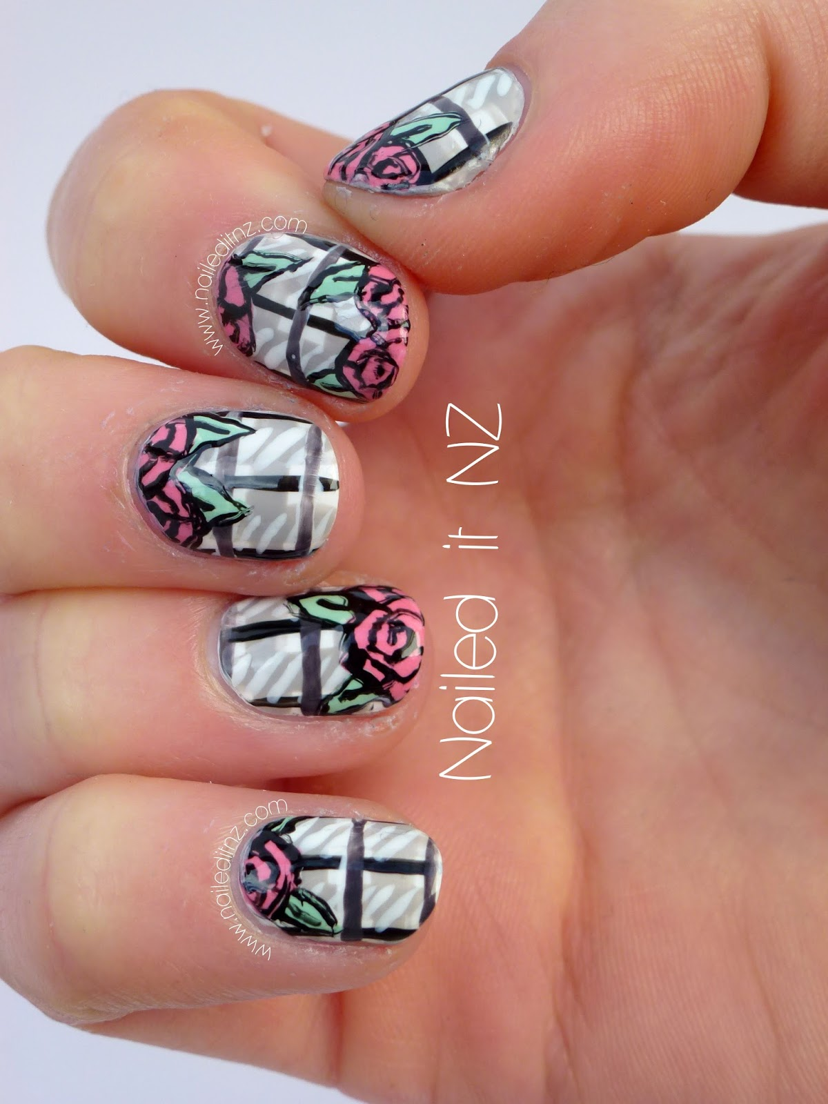 "Rose Nail Net: ""Roses & Window Panes"" Nail Art"
