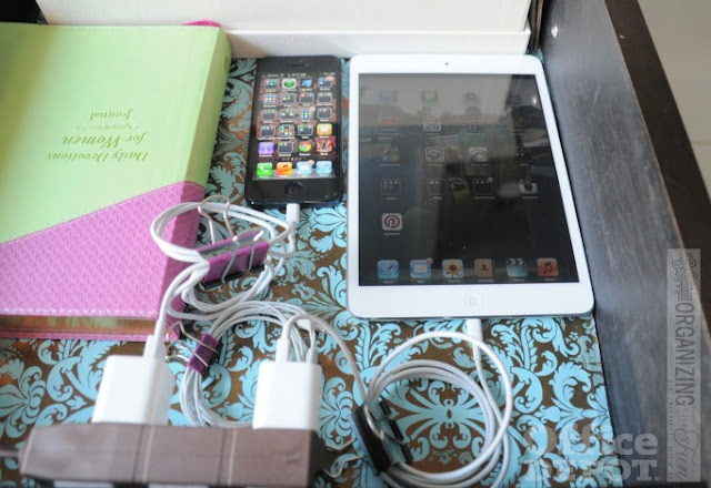 Charge your cell phone in your nightstand drawer :: OrganizingMadeFun.com