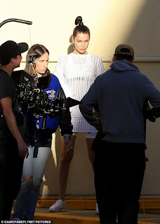 Bella Hadid stunned in a photo shoot for a Nike ad while in Los Angeles on Thursday