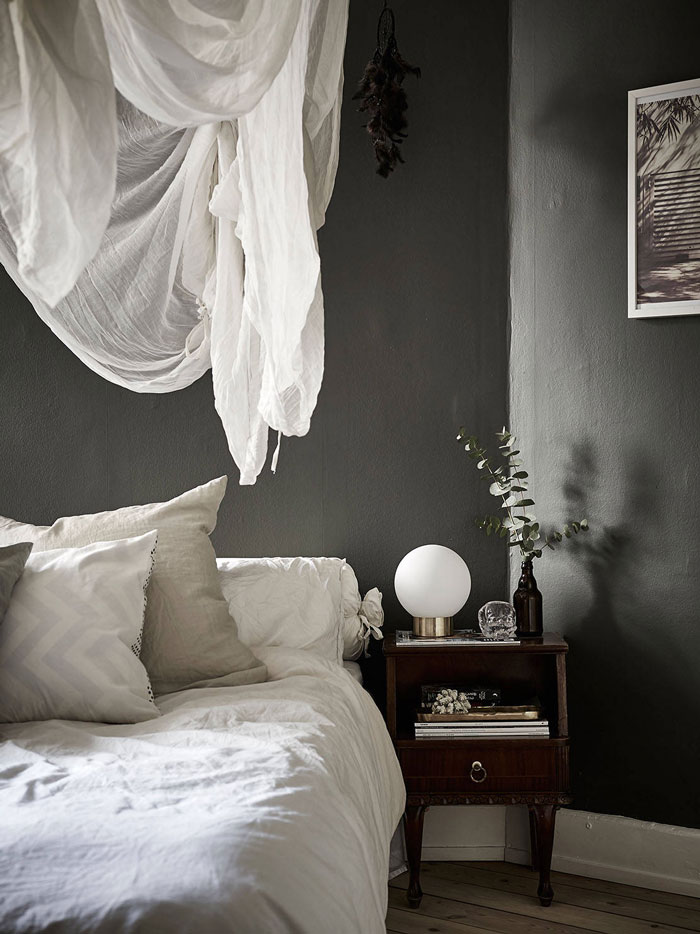 bedroom decor, dark gray painted  walls