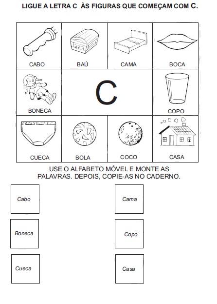 atividades para alfabetização ligue a figura na letra inicial sÓ