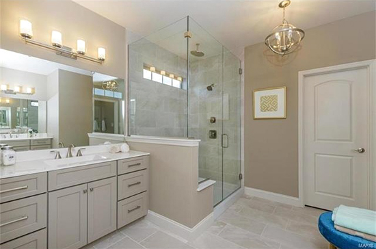 Luxurious bathroom in Weldon Spring inventory home by Fischer and Frichtel