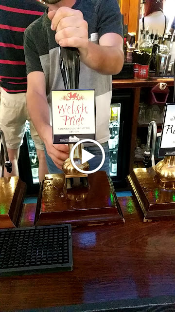 Where to Drink in Conwy North Wales: Animated gif of a bartender pulling a pint of Welsh Pride at the Blue Bell