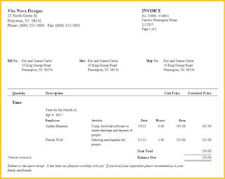 Interior Design Invoice Template   Resume Business Template