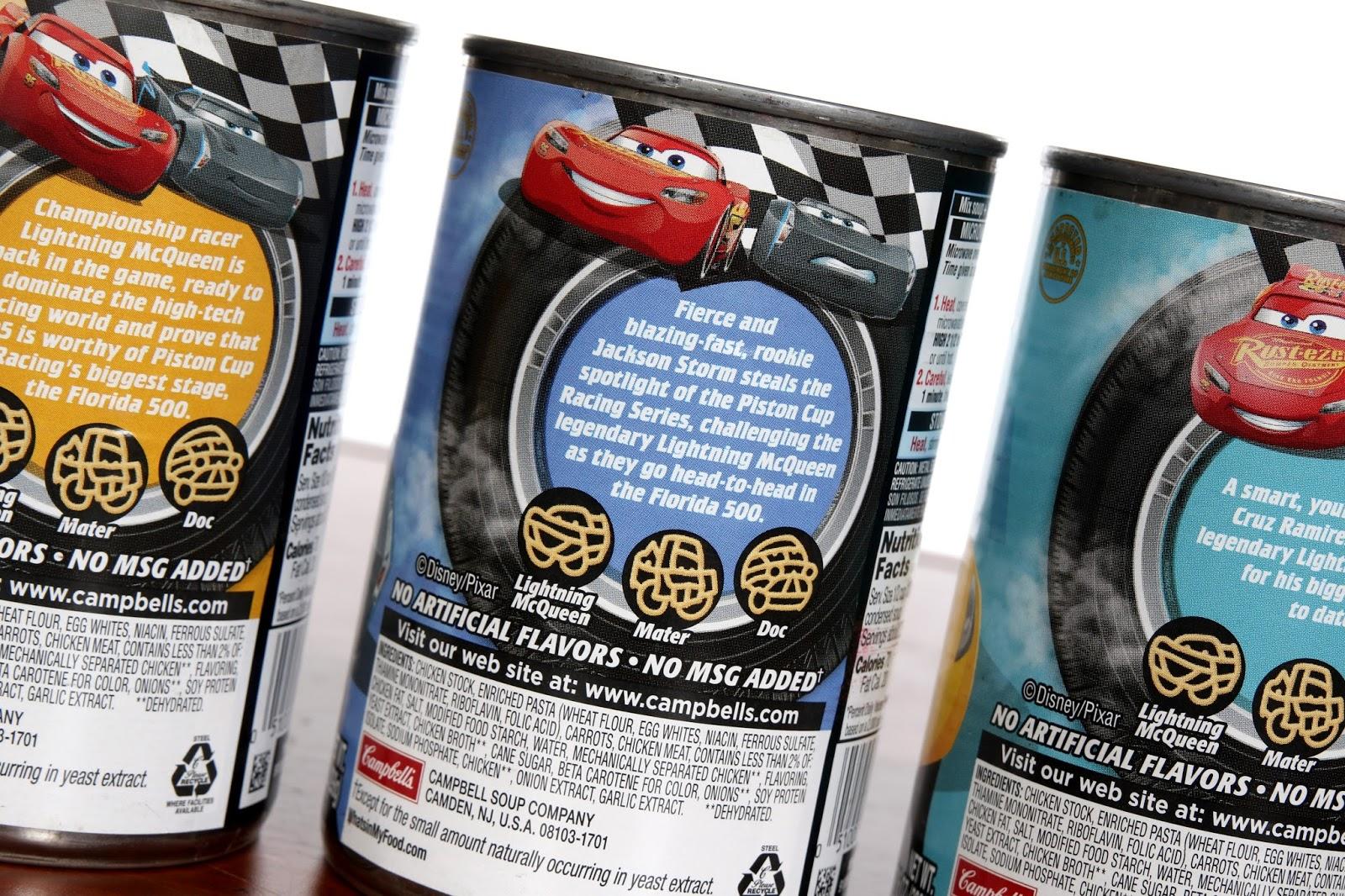 disney pixar Cars 3 campbell's soup