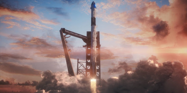 Illustration of SpaceX's Crew Dragon spacecraft launching atop the company's Falcon 9 rocket from historic Launch Complex 39A at NASA's Kennedy Space Center in Florida. Credits: SpaceX