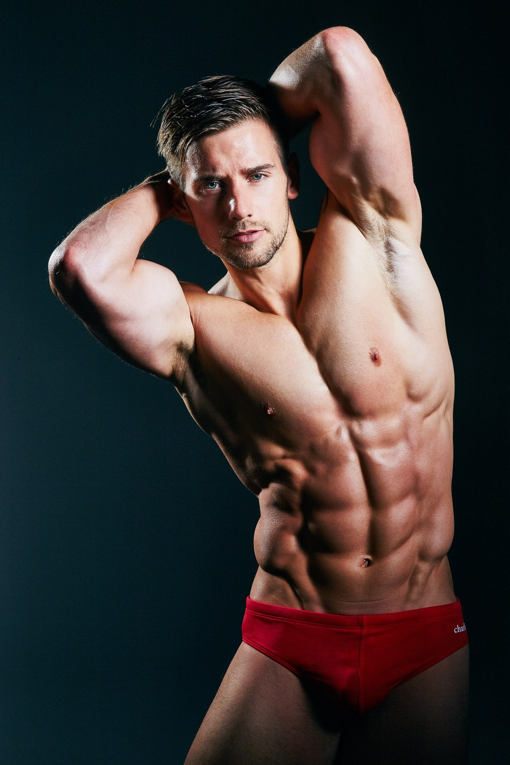 Blond model with athletic body 4