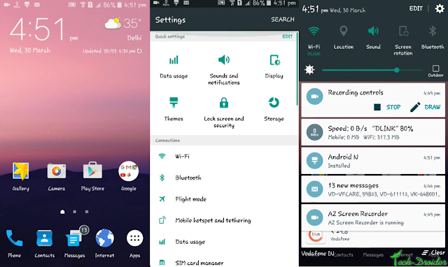 Android N theme for Theme Store enabled Samsung Devices