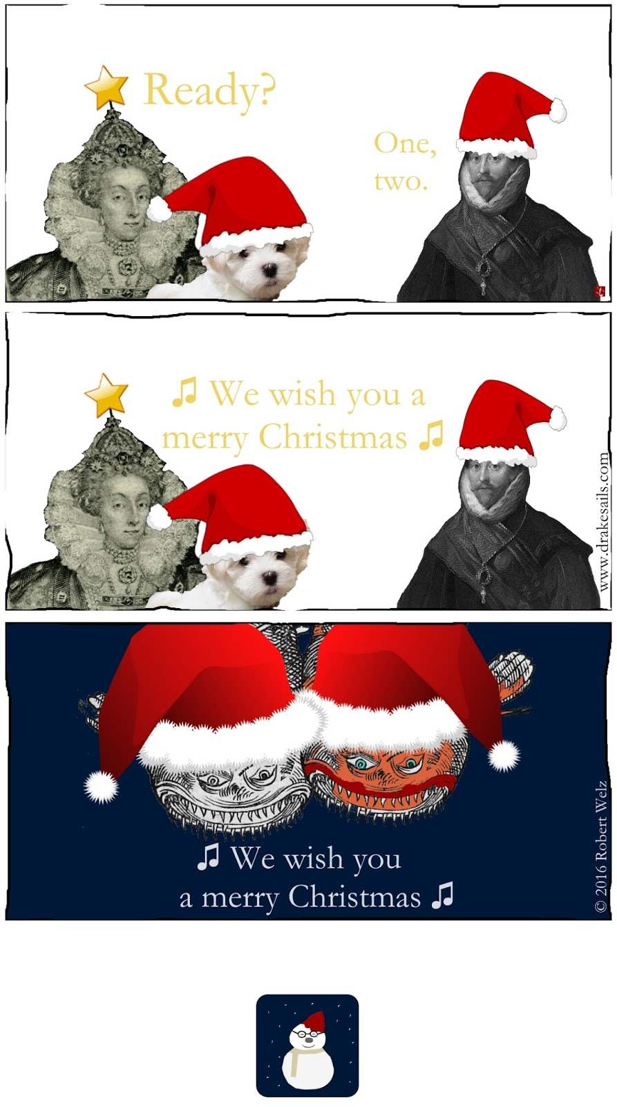Satire Humour Web Comic:Queen Elizabeth I, pirate Francis Drake and two funny sea monsters singing for you: Merry Christmas