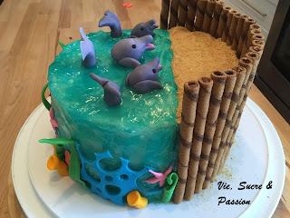 Dolphins Sea Cake (Fondant)