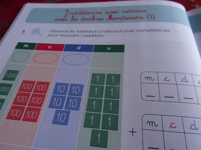 Additions avec retenues avec les timbres montessori