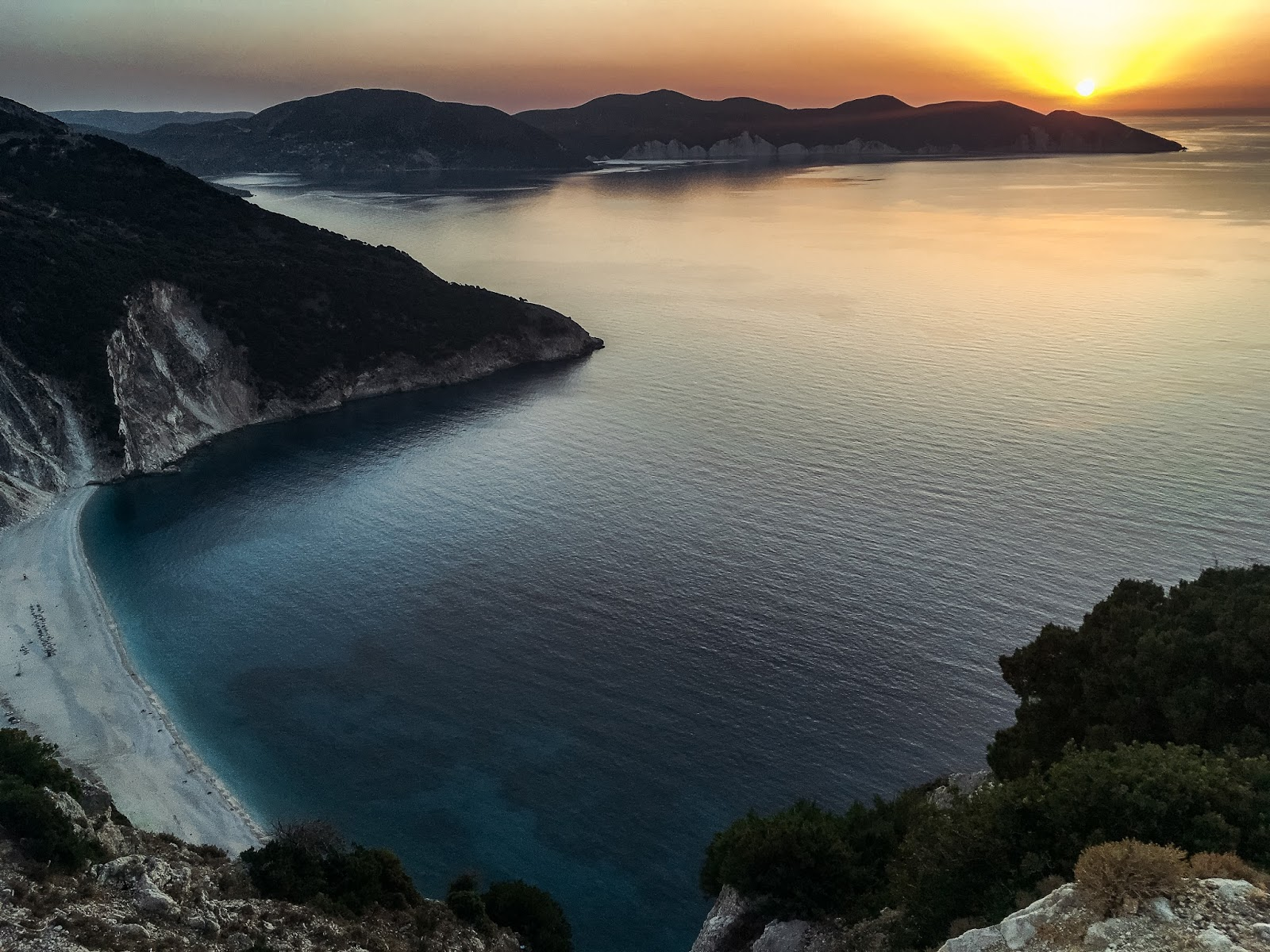 Kefalonia and Ithaca Guide: Myrtos Beach sunset