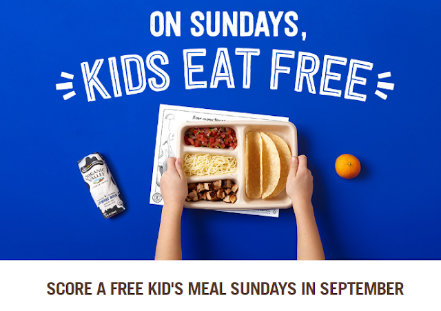 Denver mommy august 2016 at chipotle every sunday in september kids eat free with the purchase of a burrito bowl an order of tacos or a salad no coupon needed fandeluxe Choice Image