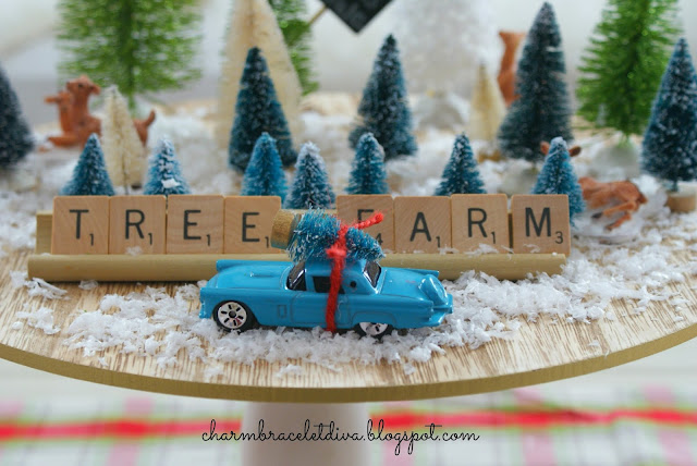 bottle brush trees reindeer blue retro roadster