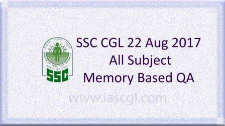 SSC CGLE 22 Aug 2017 All Subject, QA