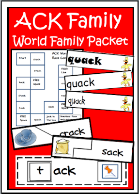 Free ack word family activities - self correcting puzzle, making words center, word family cards, file folder games and interactive notebook pages from Raki's Rad Resources.