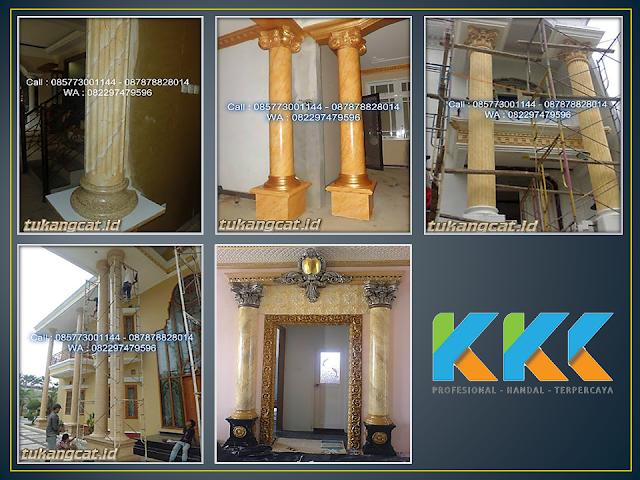 Pengecatan dekoratif tiang dan pilar motif marmer