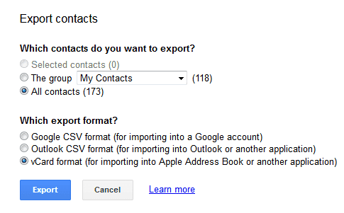 contacts to export