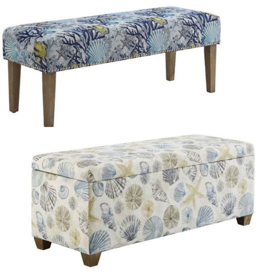 Coastal Upholstered Benches