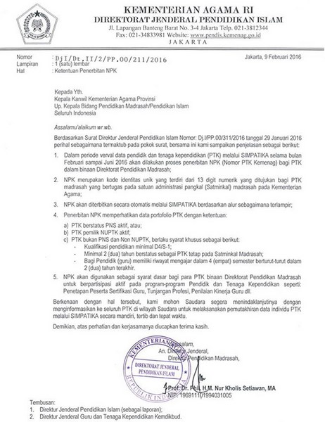5 Poin Penting Penerbitan NPK bagi PTK Madrasah Tahun 2016