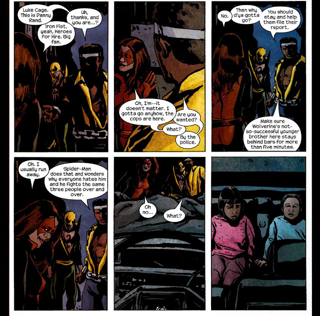 The Pulse #14 scene where Iron Fist and Luke Cage meet Jessica Jones as Knightress