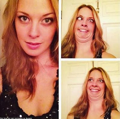 Frau mit witzig geschminktem Gesicht Makeup