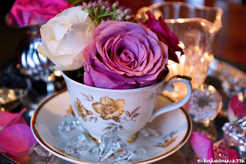 kristalli, ruusu, koriste, juhlat