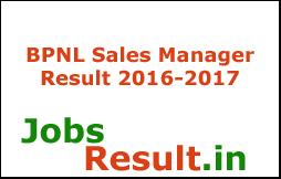 BPNL Sales Manager Result 2016-2017